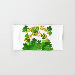 Happy Saint Patrick's Day with Shamrocks Hand & Bath Towel