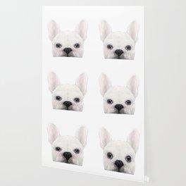 French bulldog white Dog illustration original painting print Wallpaper