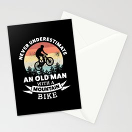 Old Man with a Mountain Bike | MTB Gift Stationery Cards