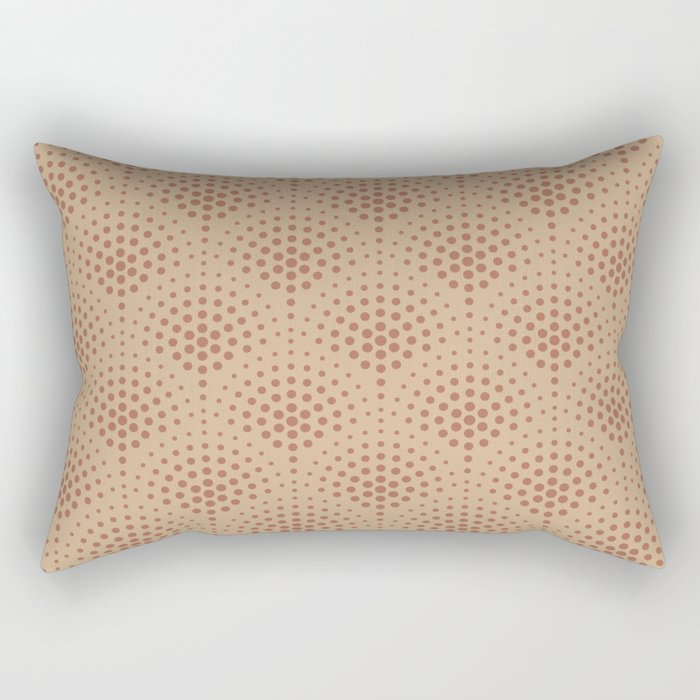 Cavern Clay SW 7701 Polka Dot Scallop Fan Pattern on Ligonier Tan SW 7717 Rectangular Pillow