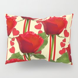 YELLOW SCARLET ROSES & RED VALENTINE HEARTS Pillow Sham