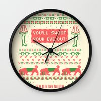 sweater Wall Clocks featuring A Christmas Sweater by Sarajea
