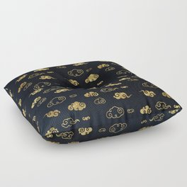 Black and Gold Asian Style Cloud Pattern Floor Pillow