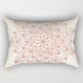Mandala Blossom Rose Gold on Cream Rectangular Pillow