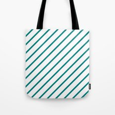 Diagonal Lines (Teal/White) Tote Bag