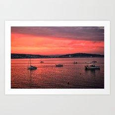 Mumbles Harbour after Sunset. Art Print
