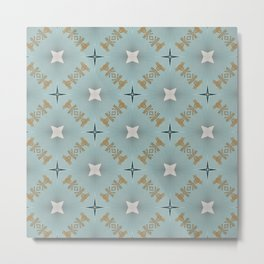 Soft Teal Blue & Gold No. 7 Metal Print