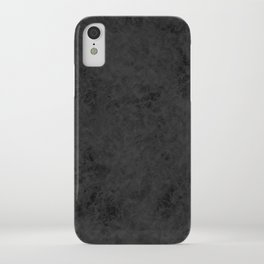 Black textured suede stone gray dark iPhone Case