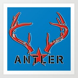 Antler Stencil with Star on Blue by Ron Brick Art Print