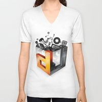 dj V-neck T-shirts featuring DJ by DeanDesign