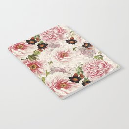 Small Vintage Peony and Ipomea Pattern - Smelling Dreams Notebook