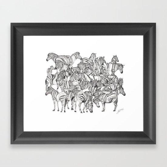 Zebras // Graphite Framed Art Print