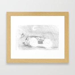 skeletons driving ahead Framed Art Print