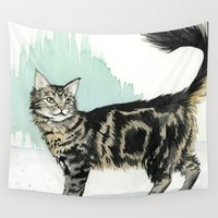 maine Wall Tapestries featuring Maine Coon by Priscilla George
