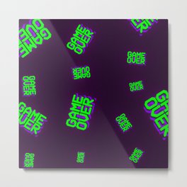 Retro Synthwave Game over design Metal Print