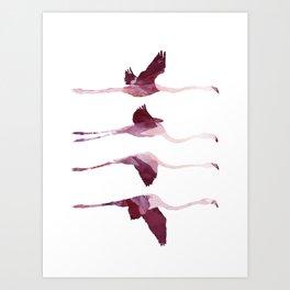 Flying Flamingos Art Print