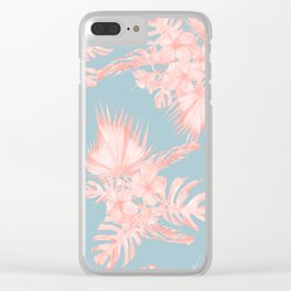 Tropical Palm Leaves Hibiscus Coral Blue Clear iPhone Case
