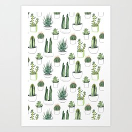 Watercolour Cacti & Succulents Art Print