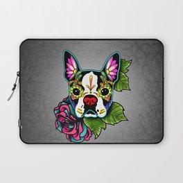 Boston Terrier in Black - Day of the Dead Sugar Skull Dog Laptop Sleeve