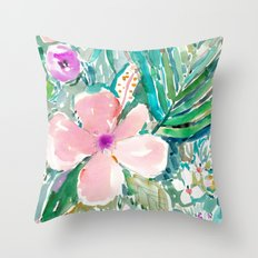 PALE PINK HIBISCUS Throw Pillow