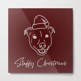 Staffy Christmas   Staffordshire Bull Terrier dog wearing Santa hat Metal Print