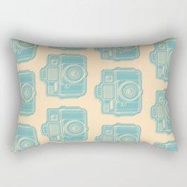 I Still Shoot Film Holga Logo - Reversed Turquoise/Tan Rectangular Pillow