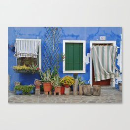 Blue Burano House Canvas Print