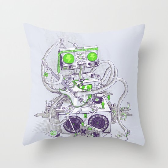 Hippy robot Throw Pillow