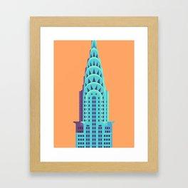 Chrysler Building New York Art Deco - Orange Framed Art Print