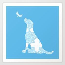 Labrador Retreiver Dog On Blue Colour Art Print