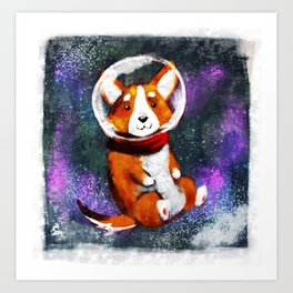 Space Corgi - Blue Art Print