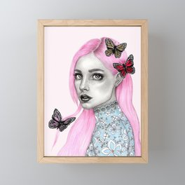 Pink haired girl Framed Mini Art Print