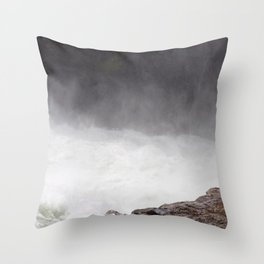 Mist Rising From the Rapids, Churning Water, Fast Moving River Throw Pillow