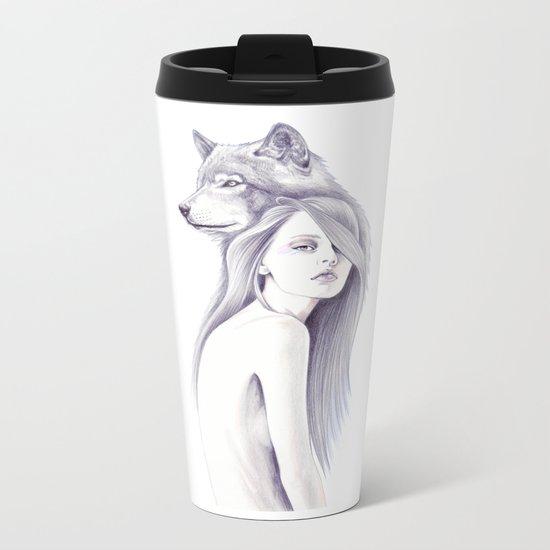 Wolf Shadow Metal Travel Mug