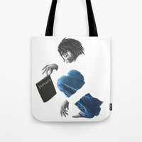 death note Tote Bags featuring Death Note L by Papan Seniman