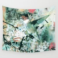 hummingbird Wall Tapestries featuring Hummingbird by RIZA PEKER