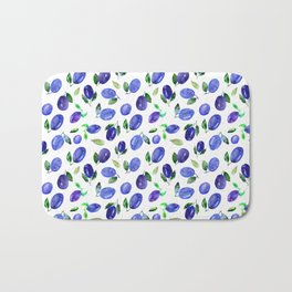 Sweet plums || watercolor Bath Mat