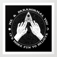 Me & Paranormal You - James Roper Design - Ouija B&W (white lettering) Art Print