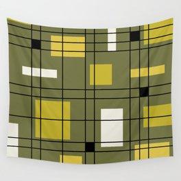 1950's Abstract Art Avocado Green Wall Tapestry