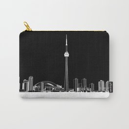 Toronto Skyline - White ground / Black Background Carry-All Pouch