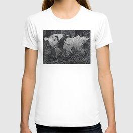 world map mandala black and white 3 T-shirt