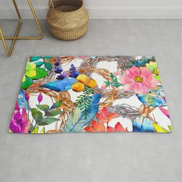 Colorful Watercolor Floral Pattern With Beautiful Wreaths Rug
