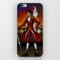 captain hook iPhone & iPod Skins featuring Captain Hook by Callie Clara