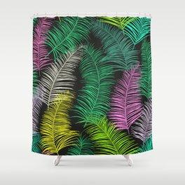 Palm Leaves Dark Shower Curtain