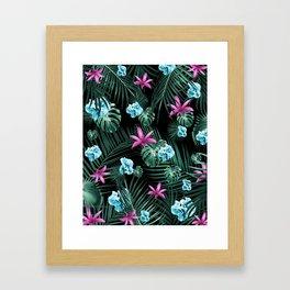 Tropical Flowers & Leaves Jungle Night #2 #tropical #decor #art #society6 Framed Art Print