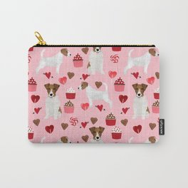 Jack Russell Terrier valentines day cupcakes and hearts love pattern gifts for dog lovers Carry-All Pouch