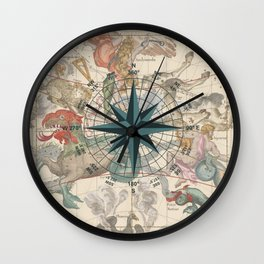 Cetus wall clocks society6 compass graphic with an ancient constellation map wall clock gumiabroncs Image collections