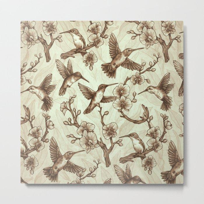 Sepia Hummingbird Pattern Metal Print