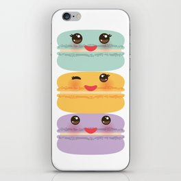 Kawaii macaroon funny orange blue lilac cookie with pink cheeks with pink cheeks and big eyes iPhone Skin