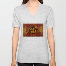 Distressed Anarchy Symbol Unisex V-Neck